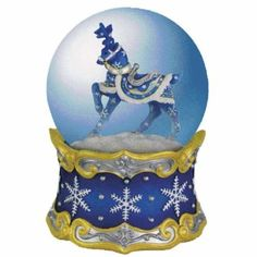 100mm Blue Reindeer Dashing Through Snow Musical Snow Globe >> Final call for this special discount  : Snow Globes