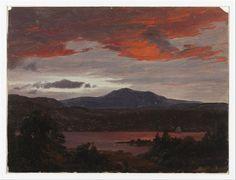 Turner Pond with Pomola Peak and Baxter Peak, Maine, 1853 - Frederic Edwin Church. Luminismo