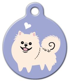 This design features an illustration of a Pomeranian on a lavender background and a little white heart. Originally seen in Lili Chin's GERMAN DOGS art print from her DOGS OF THE WORLD series.