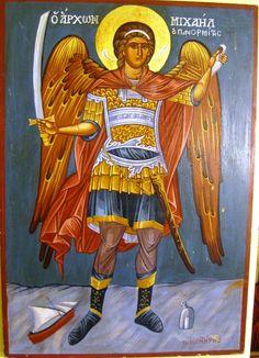 Archangel Michael distance: 56x39cm Archangel Michael, Byzantine, Distance, Wonder Woman, Superhero, Painting, Fictional Characters, Art, Art Background