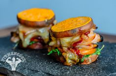 Superman Hero Sweet Potato Slider Melts. Super easy and fast!  239 calories 24g protein 23g carbs 4g fat