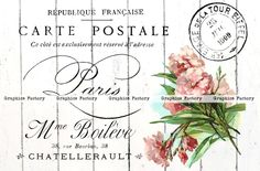 Graphics Factory: Vintage Digital Collage Sheet Spring Flowers Postcard from Paris with French Typography