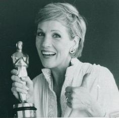 Julie Andrews with her Oscar for Mary Poppins