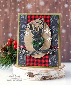 Stag silhouette card using Simon Says Stamp Magical Christmas stamps and dies. Holiday Release 2016 Believe in the Season. Card by Wanda Guess. Magical Christmas, Plaid Christmas, Vintage Christmas, Christmas Crafts, Christmas Decorations, Christmas Window Display, Diy Xmas, Homemade Christmas Cards, Homemade Cards
