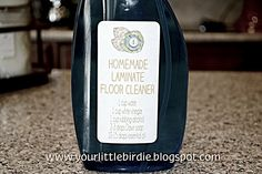 Homemade Laminate Floor Cleaner- easy and smells great. Works better than my swifter did!