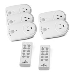 Magicfly Wireless Remote Control Outlet Light Switch Newest / Smaller Version with a 100-feet Range for Lamps, Lights and Power Strips (Battery Included) (5 Pack 2 Remote) - - Amazon.com