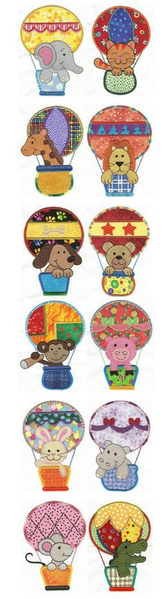 This applique set of cute animals in hot air balloons is perfect for baby blankets, clothing, bibs, and more! #DesignsbyJuJu