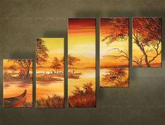 Ručne maľovaný obraz Zľava 23 %  KRAJINA 5 dielny 100x60 cm 4096FA/24h Wall Painting Decor, Diy Painting, African Art Paintings, Africa Art, Canvas Pictures, Texture Painting, Tree Art, Landscape Paintings, Cool Art