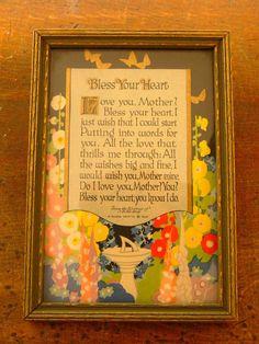 "ANTIQUE Vintage 1925  Art Deco BUZZA Motto Print McEVOY ""BLESS HEART""  #ArtDeco"