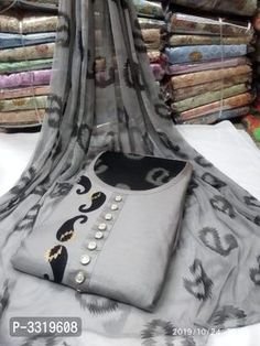 Elite Grey Printed Satin Cotton Women Dress Material With Dupatta by Rs Collection - Online shopping for Unstitched Dress Material on MyShopPrime - Cotton Dress Indian, Indian Silk Sarees, Dress Indian Style, Cotton Dresses, Cotton Saree Designs, Kurta Designs, Blouse Designs, Long Dress Design, Ikkat Dresses