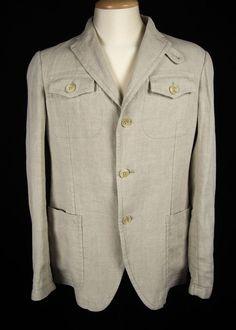 ARMANI COLLEZIONI  Mens Linen Jacket Size 40 M Beige Linen 3 Button Sport Coat #ArmaniCollezioni #ThreeButton