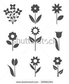 Set of flower icons. Vector illustration