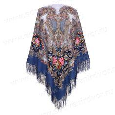 Павлопосадский платок сон бабочки синий за 2 150 руб. в интернет магазине Сувенирный двор.