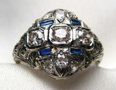 Circa 1915 Edwardian Diamond Cocktail Ring | Isadora's