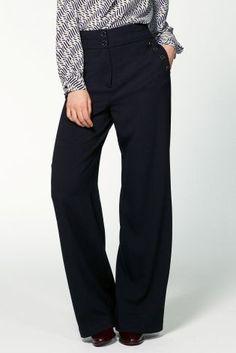 Kup dzisiaj online Granatowe spodnie o szerokiej nogawce, z ozdobnymi guzikami w sklepie Next: Polska