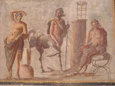 The Centaur Chiron, inventor of Medicine and Surgery, stands between Apollo on the left and Asclepius on the right. Chiron taught them the art of Medicine - from Pompeii - Naples, Archaeological Museum | by * Karl *
