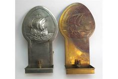Two Glasgow School Margaret Gilmour Art Nouveau repousse work candle sconces a…