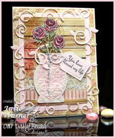 Stamps - Our Daily Bread Designs Rose, ODBD Custom Decorative Vase Die, ODBD Custom Fancy Foliage Die, ODBD Blushing Rose Paper Collection, ODBD Custom Recipe & Tag Dies
