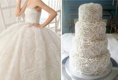 floral skirt, floral cake ~ Fashion inspired wedding cakes