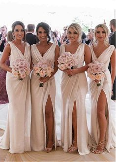 Simple V Neck Sleeveless Side Slit Chiffon Cheap Bridesmaid Dresses V-neck Bridesmaid Dresses, Sleeveless Bridesmaid Dresses, Chiffon Bridesmaid Dresses, Bridesmaid Dress, Bridesmaid Dresses Simple Bridesmaid Dresses 2018 Champagne Bridesmaid Dresses, Simple Bridesmaid Dresses, Champagne Long Dress, Bridesmaid Ideas, Bride And Bridesmaid Pictures, Sparkly Bridesmaids, Champagne Wedding Colors, Bridesmade Dresses, Bridesmaid Outfit