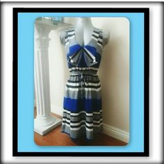 Maurice's beautiful royal blue and white dress Maurice's beautiful size small royal blue and white striped dress with elastic waist and tie like new Maurices Dresses