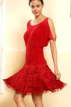 Dance America D407 - Blousan Fringe Latin Dance Dress| Dancesport Fashion @ DanceShopper.com
