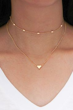 Cute Simple Modest Heart Choker Necklace in Gold Double Layered Statement Jewelry. - Cute Simple Modest Heart Choker Necklace in Gold Double Layered Statement Jewelry. Cute Simple Modest Heart Choker Necklace in Gold Double Layered Statement Jewelry. Cute Necklace, Simple Necklace, Simple Jewelry, Cute Jewelry, Jewelery, Silver Jewelry, Jewelry Accessories, Jewelry Necklaces, Women Jewelry