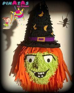 Pinata Sorcière  - Piñata Witch - Piñata Bruja - Día de Muertos - Fête des Morts - Halloween - Toussaint - La Veillée de la Toussaint -Décoration d'Halloween - Halloween Party - Halloween Piñata - Party Ideas.  Pinatas en France.  Piñatas en Francia