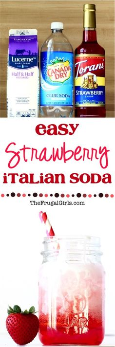 Easy Strawberry Italian Soda Recipe! ~ from TheFrugalGirls.com ~ These Italian Sodas are creamy, fruity, and pure deliciousness with every sip!