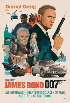 Celebrating Daniel Craig's run as James Bond and the classic iconography that was established by original poster artists of the Bond series, such as Robert McGinnis. With this poster I have taken t. James Bond Movie Posters, Iconic Movie Posters, Movie Poster Art, All James Bond Movies, Daniel Craig James Bond, Estilo James Bond, Bond Series, Images Esthétiques, The Lone Ranger