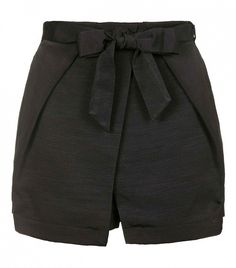 Topshop Origami Wrap Tie Skort // Black shorts with a bow tie at the waist