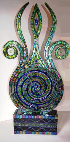 Mosaic, mosaic sculpture, mosaic art, Lamp - The Force that drives the shoot  Shop: Inspirall  Artist: Nikki Ella Whitlock ~ Fine Art & Crafts
