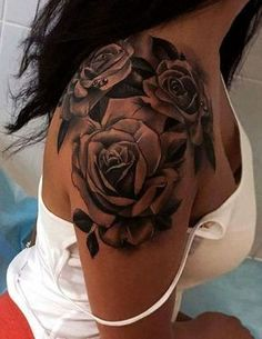 Black Rose Epaule Shoulder Tattoo Ideas - MyBodiArt.com