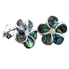 Silver Abalone Paua Plumeria Earrings Hawaiian Jewelry