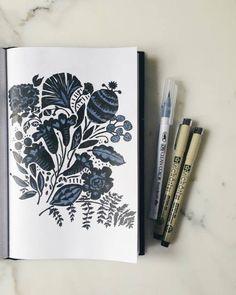 A new floral motif in the sketchbook today! 🌷 #twoifbyseastudios #sketchbook #floral #surfacedesign #surfacepattern
