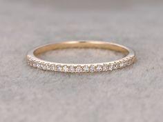 Round Diamond Wedding Ring Solid 14K Yellow Gold Anniversary Ring Half Eternity Micro Pave Matching band - BBBGEM