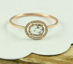 Woah so weird and cool looking!  (Rose Cut Diamond Slice Ring, Rose Gold Diamond Ring, Engagement Ring In 14K Gold)