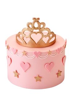 Pink Princess CakeA fairytale cake fit for a little princess! The pale pink buttercream cake is decorated with pink sugar hearts, swags and golden stars around the side and a golden sugar tiara cake topper. A plaque with a personal message can be placed i