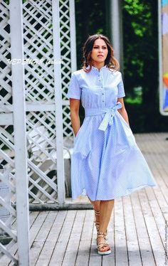 """Купить Платье-рубашка """"Кристи"""" - в полоску, хлопковое платье, платье рубашка, платье в полоску"""