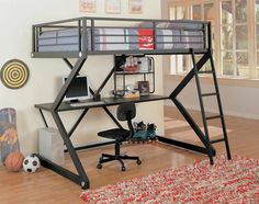 A Collection Of Cool Teenage Bunk Bed Ideas : Cool Matte Black Frame Teenage Boys Loft Bunk Bed with Study Area Underneath and Black Wheeled...