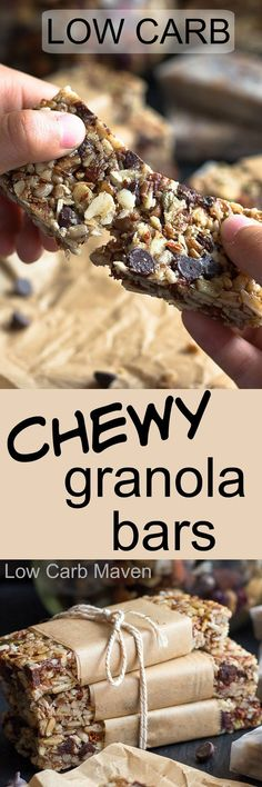 These low carb chewy granola bars are also a gluten and grain-free healthy snack. More