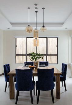 Since The Husbands Favorite Color Is Blue He Loves These Customized Dining Chairs