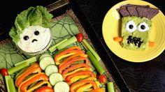 Halloween Skeleton Veggie Tray & Frankenstein Guacamole Recipe