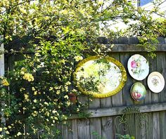 garden mirror on fence at A Cultivated Nest