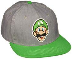 ec2440dfdf7 Amazon.com  BIOWORLD Nintendo Super Mario Bros - Luigi Rubber Logo Snapback  Cap
