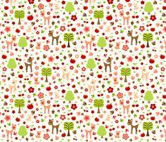 Deerie Forest in Autumn fabric by creativetaylor on Spoonflower - custom fabric