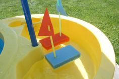 Once the sun shines down long enough to warm our faces, my kids want to play in the water. So here we are floating our sponge boats in the backyard water table. Supplies for Sponge Boats: scrub sponges – I got these at the dollar store or you can use the cell-o brand as well …