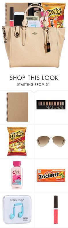"""Pre made"" by eniola29 ❤ liked on Polyvore featuring Muji, Forever 21, Kate Spade Saturday, Ray-Ban, Jack Spade, Happy Plugs, Becca and Coach"