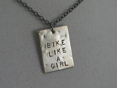 BIKE LIKE A GIRL Bike Necklace  - Triathlon Jewelry  - Bike Jewelry - Hand stamped on 18 inch gunmetal chain - Biker Girl