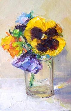 """Daily Paintworks - """"Pansies in glass.still life,oil on panel,7x5 price$200"""" - Original Fine Art for Sale - © Joy Olney"""